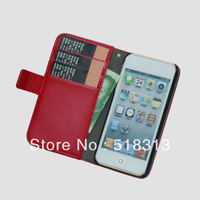 Wallet Case Cover For iPod Touch 5 Case with Card Holder for iPod Touch 5 PU Leather Case Litchi Pattern Design