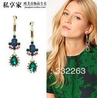 Min.order is $10 (mix order) Woman hit color stitching green gemstone fashion earrings exaggerated nightclub dress