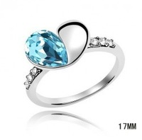 Sale Luxury White Gold Plated Love Heart Austrian Crystal wedding ring fashion jewelry  #7,8 1017