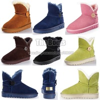 Candy Color Apple Apple Lime Green Pink Navy Blue Chestnut Button Snow Boot Genuine Leather Cowhide Womens Winter Ankle Boots