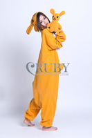 RUBY Flannel Kigurumi Kangaroo Pajamas Animals Onesies Pyjamas Jumpsuits COSPLAY Costumes Cute Cartoon Sleepwears For Adult