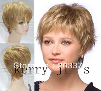 Capless Short Blonde Mixed color F27/613 100% Human  Hair Wig Free shipping