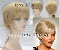 Capless 100% Real Human Hair Blonde Short Straight Hair Free shipping