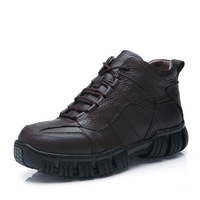 Male high leather male boots vigogne thickening cotton boots male genuine leather snow boots
