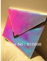 Hot Sale Rainbow Hologram Laser Envelope Day Clutch Bag  PU Message Bag  Evening Bag Female 3 colors