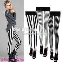 L64 Celebrity Style Women's Zebra Black White Vertical Striped Leggings Ladies Hosiery Pant Plus Size S M L XL New Free Shipping