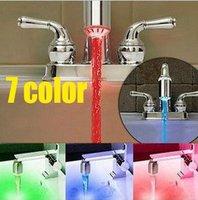 100pcs/lot 7 color jump LED water faucet light Glow Shower Faucet Light Temperature Sensor colour Changing DHL FREE SHIPPING