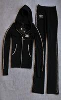 Retail 2014 new fashion Women's track suit rhinestone decoration large particles lady cotton Slim Fashion leisure Set S M L XL