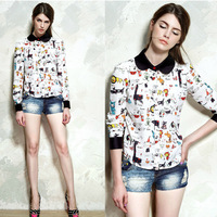 New Arrival Cartoon Animals Print Shirts Black Turn down Collar Free Shipping Long Sleeve Woman Street Blouses Tops 2013091114
