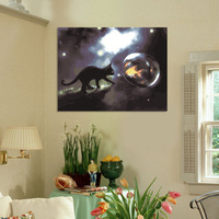 Frameless painting by numbers  Diy digital oil painting 50 65cm black cat wall picture unique gift home decor