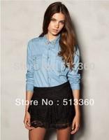 2013Women Fashion Studs Turn-down Collar Casual Denim Blouse lady Shirts,freeshipping