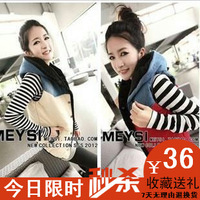 Patchwork denim casual hooded plus cotton all-match color block vest female