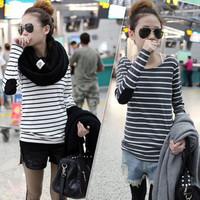 2013 autumn patch decoration stripe o-neck long-sleeve basic shirt female