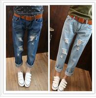 Loose plus size casual hole denim harem pants ankle length trousers female beggar pants