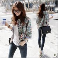 Fashion vintage decorative pattern female short jacket personality design casual short jacket