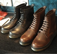 2013 autumn winter men leather retro  martin boots round toe combat boots for men motorcycle boots