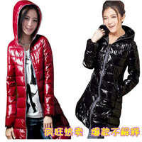 5Color Hot Sale Polyester taffeta Glossy Women Long Coat Candy Color Long Sleeve Coat with Zipper and Hat