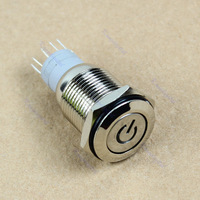 Free Shipping Car Vehicle 16mm 12V Blue LED Angel Eye Push Power Button Metal Switch Latching
