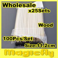 [PFL-092]Wholesale 25x(100pcs x 11.2cm) Orange Wood Sticks Nail Art Care Salon Cuticle Pusher Remover Manicure Tool