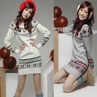 Soft Womens girls Sweater dresses knit Pullover Jumper Top Snowflake Deer Long Sleeve
