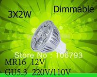 Fedex DHL 10PCS Pack New High Power LED Mr16 6W Dimmable Warm Cool 12V / GU5.3 220V/110V