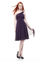A-Line One Shoulder Knee-Length Ruched Chiffon Bridesmaid Dress HWGJBD13