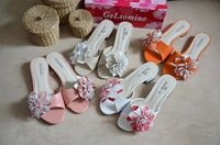 Free shipping low-heeled sandals candy colored flowers
