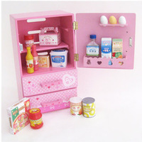 Mother garden single-door refrigerator momo kitchen wooden freezer baby toy  wholesale