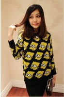 Free shipping hot promotion cartoon printing knit sweater qiu dong joker set of women's new head render unlined upper garment