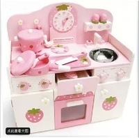 Mothergarden strawberry clock gas cooktop super large luxury stove wooden toy  wholesale