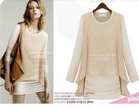 2013 autumn new women's stitching chiffon lady bottoming shirt long-sleeved T-shirt