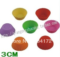 10 X The silicone cake mould 3 cm mini round muffin cups jelly mould chocolate mould Free Shipping
