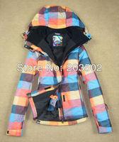 Free shipping 2013 new womens colorized plaid waterproof warm snowboard jackets ladies colorful grid ski jacket anorak skiwear