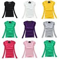 New Korean Women's T Shirt Spring Slim Elastic Puff Sleeve Crew Neck Tops 8 Colors Free Shipping