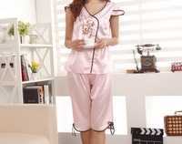 New style Ladies'  pajamas set Chinese embroidery silk  sleeveless nightwear home clothing JYJ-05 Freeshipping