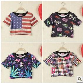 LZ summer stree Fashion youth clothing london harajuku american flag leaves print cross short design Tee shirt cheap crop tops(China (Mainland))