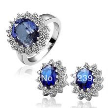 LS048 18K Platinum White Gold Plated Rhinestone Items Big Blue Zircon Finger Ring Stud Earring Women