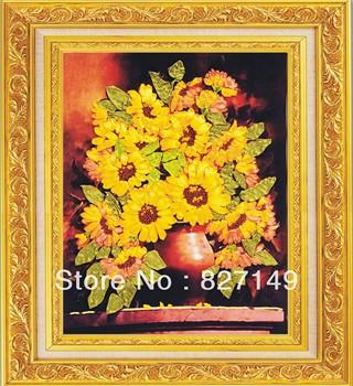 Bird ribbon embroidery kit sunflower 3d three-dimensional paintings cross stitch kit