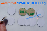 100pcs/lot 125KHz RFID Tag PVC Waterproof + 3M Adhesive ISO EM4100 compatible for Access Control
