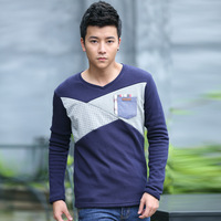 T-shirt male autumn long-sleeve 2013 fashion V-neck 100% cotton top male basic shirt plus velvet t-shirt