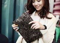 ZH0690 4 colors Fashion Women's Sparkle Spangle Clutch Evening Bag Wallet Purse Handbag