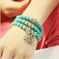 New! Turquoise Crystal Tibetan Silver Cross Skull Bracelets Handmade Women Men Fashion 1pcs