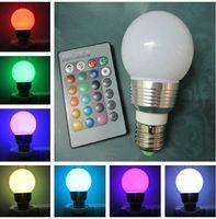 E27 3W RGB 16 Colors Change LED Bulb Lamp Light +24 key IR Remote Controller