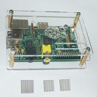For Raspberry Pi Computer Model B 512M Clear Shell Case Box +3 pcs Heatsink Set Kit Free Shipping