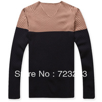 2013 the new leisure men's sweater splicing knit color sweater slim pullover free shipping