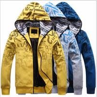Free Shipping!100% Cotton Men's Casual Villus Inside Upset Warm Hoody Sweater/Woven Coat
