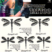 Colored drawing body tattoo stickers waterproof female scar dragonfly wrist length tattoo stickers