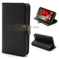 Black Litchi Leather Wallet Case Stand For LG Optimus L7 II Dual P715 Duet+ Free Shipping