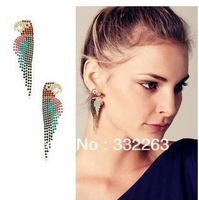 Min.order is $10 (mix order)  2013 stunning color luxury fashion women's personality full of diamond parrot earrings