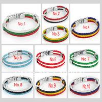 Unisex National Flag Style Braided Rope Surfer Faux Leather Bracelet Bangle Wristband Multi-colors Optional Zebra Strand